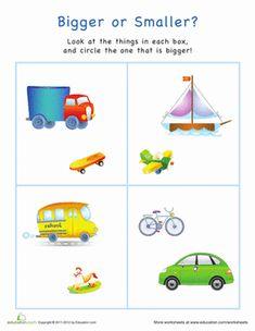 Preschool Measurement Worksheets: Bigger or Smaller? Transportation