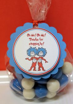 Dr Seuss Thing 1 Thing 2 Baby Shower Birthday Party Favor Tags via Etsy