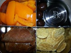Adult Snack Bento -Orange Bell Pepper -Dark Chocolate Covered Macadamia Nuts -Garlic Hummus -Applesauce Fruit Leather -Rice Sesame Crackers