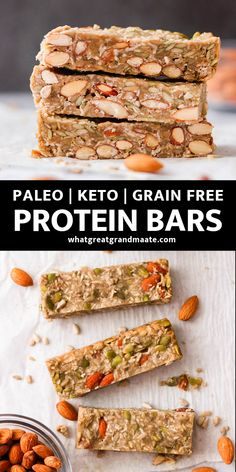 Low Carb Protein Bars (Paleo Option, Gluten Free) These healthy homemade low carb protein bars are so easy to make, delicious, and portable. With only 5 grams of net carbs, they'll keep you satiated during travel or in between meals! High Protein Snacks, Low Carb Bars, Low Carb Protein Bars, Protein Bar Recipes, Low Carb Keto, Paleo Recipes, Low Carb Recipes, Real Food Recipes, Keto Bars