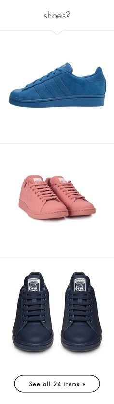 """""""shoes😍"""" by keilastylist ❤ liked on Polyvore featuring clothes - shoes, sneakers, shoes, shoes - sneakers, pink, sapatos, pink leather shoes, adidas shoes, lace up sneakers and pink sneakers"""