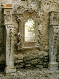 Mirror and columns made by Ev  www.elisevaldorci...