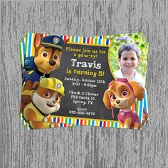 Paw Patrol (Pick Your Pups) Birthday Invitation Digital File; You Print on Etsy, $8.99