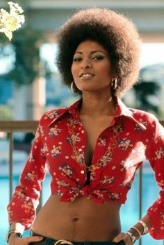 "Pam Grier in 'Foxy Brown'. ""She's brown sugar and spice but if you don't treat her nice she'll put you on ice!"""