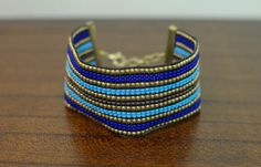 Blue & Gold Bracelet,  by oRadhaO on Etsy