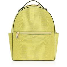 Henri Bendel West 57th Lizard Backpack ($398) ❤ liked on Polyvore featuring bags, backpacks, lt green, green bags, zip bags, saffiano leather bag, zip handle bags and zipper bag