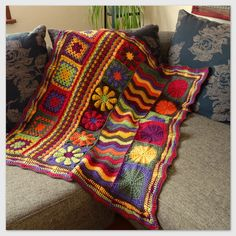 I am falling in love with these afghans made of different blocks and stitches.