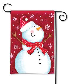 Look at this #zulilyfind! Red Snowman Garden Flag #zulilyfinds