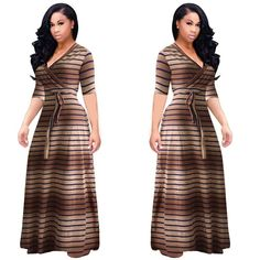 Summer Long Maxi Dress Print Beach Dress Tunic Bandage Bodycon Evening Party Dress Vestidos largos mujer Plus Size Striped Maxi Dresses, Plus Size Maxi Dresses, Cheap Dresses, Belted Dress, Prom Dresses With Pockets, Wedding Dress With Pockets, Dress Pockets, Plus Size Fashion, Curvy Fashion