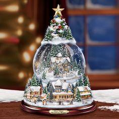 Thomas Kinkade Christmas Snowglobe Tree Lights Up and Musical Globe