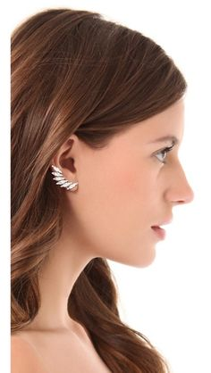 d7e3621fd Shay Accessories Crystal Clip On Ear Crawlers Black Diamond Studs, Black  Gold, Teardrop Earrings