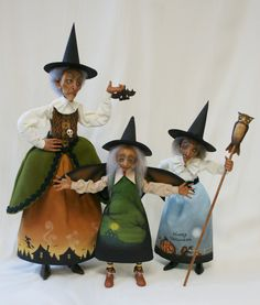 trio of hags ~ witches for Halloween made by Sheila Bentley (primdolly)
