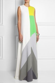 A collaboration with The Albers Foundation Multicolored double wool-crepe Paneled, fully lined Button-fastening keyhole at back wool; Business Dress, Roksanda, Colorblock Dress, Mode Inspiration, Dress Me Up, Hijab Fashion, African Fashion, Dress To Impress, Dress Skirt