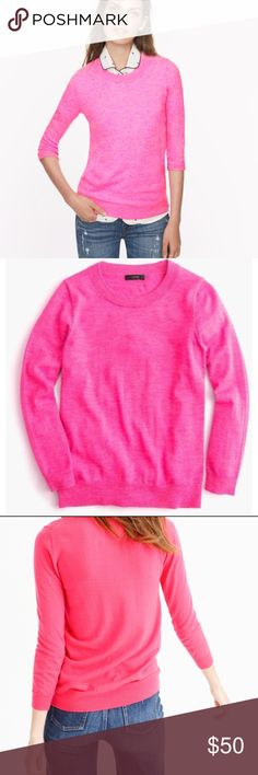 J. Crew pink 3/4 sleeve merino wool tippi sweater J. Crew XXS bright pink merino wool tippi sweater. 3/4 sleeve crew neck construction. The sweater has been worn only once and is in excellent condition! J. Crew Sweaters Crew & Scoop Necks