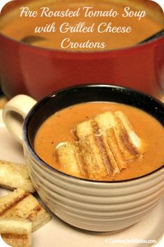 Fire Roasted Tomato Soup With Grilled Cheese Croutons