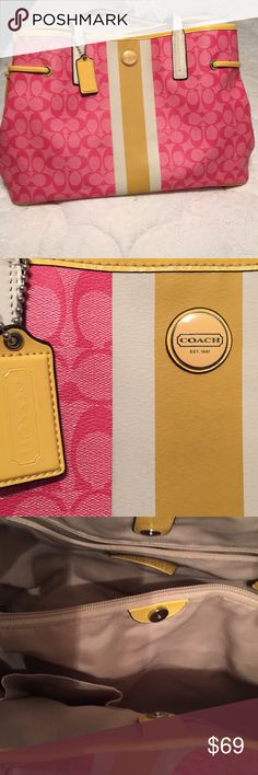 Coach Handbag Signature Larger Sized Pink/Yellow Color: Pink, yellow, white Exterior Material:  PVC Trim:  Leather Hardware:  Silvertone Excellent condition only used for carrying a laptop.  Has some normal wear on bottom edges.  This Coach Handbag is a larger sized one!  It comes from a smoke-free and pet free home. Buy it now for $69 or best offer. 😊 Coach Bags Totes