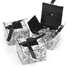 Black Heart Flap Wedding Favor Boxes with Ribbon