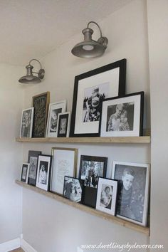 DIY picture ledge wall with farmhouse sconces DIY picture ledg. DIY picture ledge wall with farmhouse sconces DIY picture ledge wall with farmhou Family Pictures On Wall, Family Picture Displays, Family Picture Walls, Wall Decor With Pictures, Family Picture Collages, Photo Collages, Wall Photos, Picture Shelves, Gallery Wall Shelves