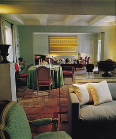 David Hicks ~ salon and dining area of Le Clos Fiorentina, the one-time home of Rory Cameron after he left Villa Fiorentina