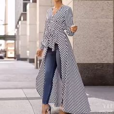V-Neck Striped Tie Waist Dip Hem Irregular Blouse - Stylish Fashion Mode Outfits, Casual Outfits, Casual Clothes, Girly Outfits, Winter Clothes, Summer Clothes, Look Fashion, Womens Fashion, Fashion Design