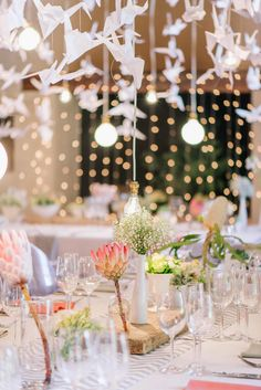 Paper cranes and proteas / Langkloof Roses Wedding, Cape Town - Claire Thomson Photography