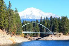 Wagon Creek Pedestrian Bridge over Lake Siskiyou in Siskiyou County, CA.