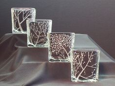 Engraved Glass Candle Holders, Four Seasons