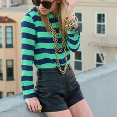 Like the combination of leather shorts + striped blouse. outfit by Atlantic-Pacific