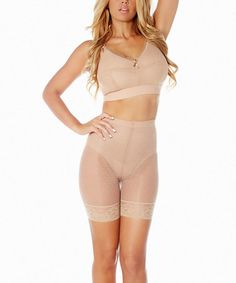 Another great find on #zulily! Champagne Mesh Dot Longline Shaper Shorts - Women & Plus #zulilyfinds