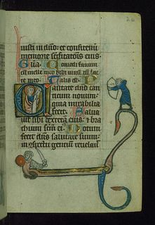 """Book of Hours (Use of Liège), Initial """"C"""" with saint holding scroll; archer and hybrid knight in margin, Walters Manuscript W.37, fol. 26r"""