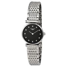 Longines Le Grande Classique Black Dial Ladies Watch ($975) ❤ liked on Polyvore featuring jewelry, watches, water resistant watches, longines watches, analog watches, dial watches and analog wrist watch