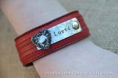 Loved leather cuff Valentine's day gift by LoveSquaredDesigns