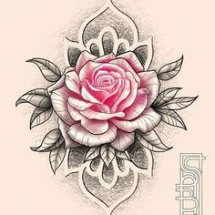 I seriously adore the tints, outlines, and fine detail. This really is an amazing tattoo design if you want a Rose Tattoos, Flower Tattoos, Body Art Tattoos, Small Tattoos, Sleeve Tattoos, Graffiti Tattoo, Rose Drawing Tattoo, Tattoo Drawings, Tattoo Studio