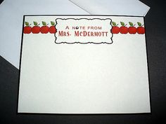 Personalized A Note From… w/ Apple Monogrammed #Teacher Card Notecard #Stationery Greeting Card Single Card on #Etsy, $2.75