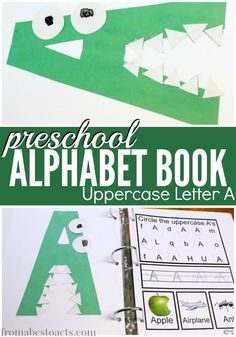 Preschool Alphabet Book: Uppercase A A is for alligator! Making an alphabet book with your preschooler is such a fun way to learn letters! And what better way to start than with uppercase letter A! Preschool Letters, Preschool Books, Preschool Curriculum, Preschool Lessons, Preschool Learning, Kindergarten, Homeschooling, Home Preschool, Preschool Plans