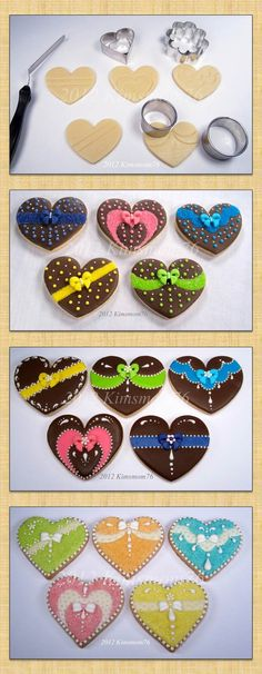Kimsmom 76: Her cookie journey today starts with various design elements on a basic shape.  She uses to visually break up the area on a large symetrical cookie.  Shown are different ways to finish the details as well as how it looks when changing out the color combination. She has a great blog!