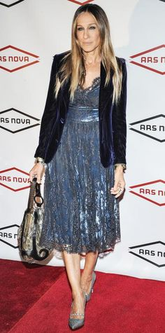 Sarah Jessica Parker in a navy crushed velvet blazer and a blue lace dress