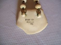Mary Lou Higgins '81 Creamy Ceramic LONG Necklace Handcrafted and Brass Beads (11/27/2013)