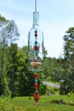 Wine Bottle Wind Chime/Turquoise & Red Wind by WhiteRoosterShoppe