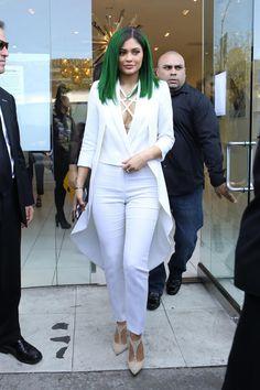 Kylie Jenner wearing Christian Louboutin Salonu Pumps, Sass & Bide That Night Bra and Olcay Gulsen Wool Long Tail Coat