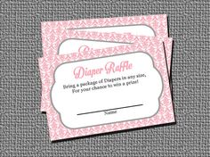 This is for a PRINTABLE INSTANT DOWNLOAD sheet of Diaper Raffle Cards. Finished in light pink damask pattern with highlights of grey.  This