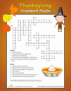 Thanksgiving Fourth Grade Puzzles & Sudoku History Worksheets: Thanksgiving Crossword