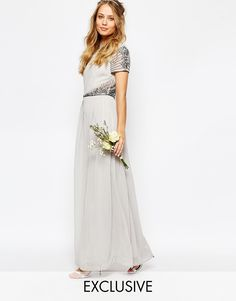 Maya Cap Sleeve Maxi Dress with Embellished Waist Detail