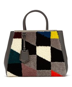 Love this F/W '14 Gray Patchwork 2Jours Medium Sheepskin & Leather Tote by FENDI on #zulily! #zulilyfinds