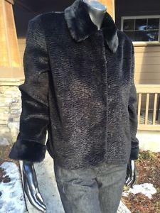 Chico's Women's Size 1 Black Faux Fur Dress Coat Mint Collar Clasps Lined   eBay