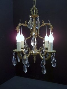 Vintage Petite Brass Crystal Chandelier Small Four Light Spanish Crystal…