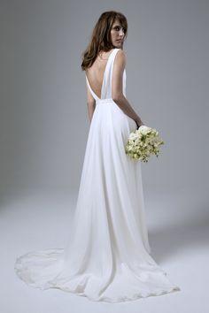 Back view of the Daisy Silk Chiffon Cross Over Wedding Dress by Halfpenny London