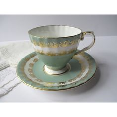 Vintage Aynsley English Bone China Sage Green and Gold Teacup and... ($33) ❤ liked on Polyvore featuring home, kitchen & dining and drinkware