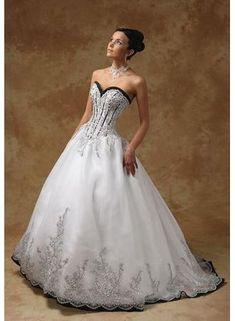 Black bodice wedding dress