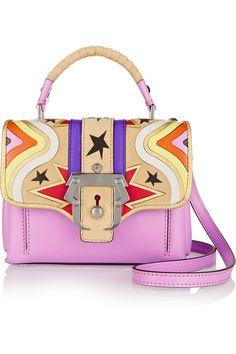 Paula Cademartori|Dun Dun mini appliquéd leather and suede shoulder bag(=)